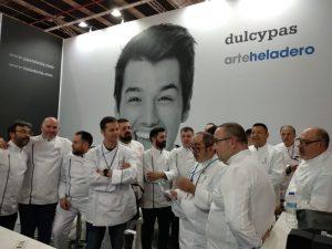 Los chefs del helado y de la pastelería fría, en la presentación de '20BAJOCERO' en la feria Intersicop de Madrid, en febrero./FOTO 20BAJOCERO