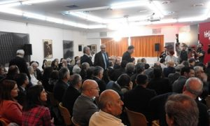 Llegada al Aula de la CAM de Ximo Puig, Perfecto Palacio y el rector Palomar, estas mañana./FOTO MADE IN JIJONA