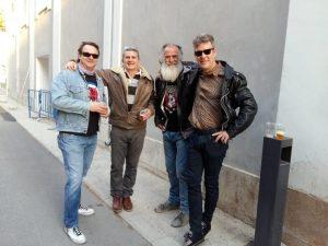 Picola, Bernat, Pancho y el saxofinosta Raju poco antes de iniciarse el concierto en la Caja Negra, ayer./FOTO MADE IN JIJONA