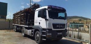 El camión de troncos sacado ayer de Vivens por la empresa maderera de Moixent./FOTO CONCEJALÍA DE MEDIO AMBIENTE