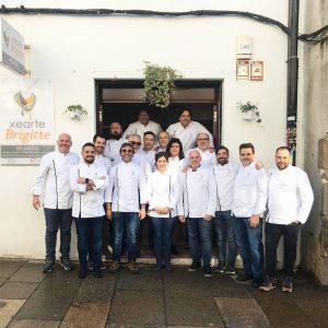 Los heladeros del grupo de chefs 20 bajo cero en el obrador de Xearte Brigitte de Santiago de Compostela./FOTO 20BAJOCERO
