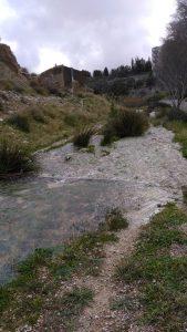 El riu Coscó, afluent del riu Sec, al seu pas estos dies amb gran caual després la borrasca Glòria junt al parc del Cuernero, en Xixona./FOTO MADE IN JIJONA