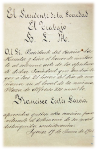 Invitación al alcalde de Xixona para la inauguración del primer local social. Archivo Histórico Municipal de Xixona