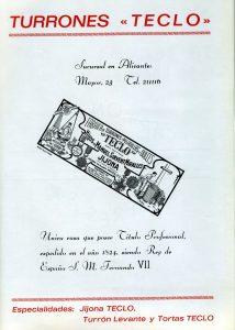 Anuncio de una página del Programa de Fiestas de Moros y Cristianos de 1969.